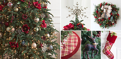 farmhouse christmas add rustic elegance to your holiday home with our christmas ornaments and accents that feature classic hues and our exclusive plaid