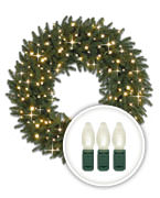 Clear LED-Lit Christmas Wreaths