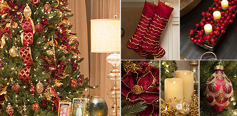 brilliant bordeaux living room create a nostalgic christmas scene that echoes a classic holiday celebration with the majestic colors of burgundy and gold