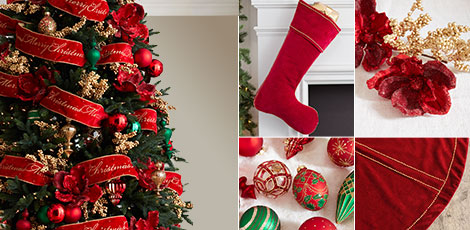 christmas cheer combine festive colors of red green and gold with classic christmas imagery for a timeless holiday look shop now - Red And Gold Christmas Decorations