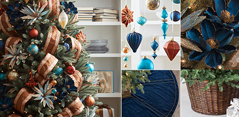 georgetown create a laidback coastal theme with our gorgeous decorations in shades of navy copper and turquoise shop now - Navy Blue Christmas Decorations