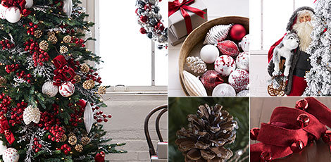 nordic frost take inspiration from the understated elegance of scandinavian design with red white and silver accents shop now - White Christmas Tree With Red And Gold Decorations