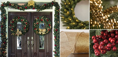 welcoming christmas outdoor welcome your guests with our lush outdoor holiday foliage with classic christmas accents in red and gold shop now - Classic Outdoor Christmas Decorations