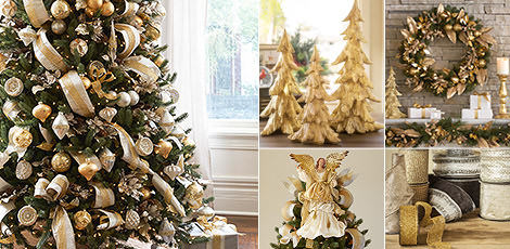 silver gold infuse a touch of luxury into your home with intricate embellishments in exquisite silver and gold hues shop now - Gold Christmas Decorations